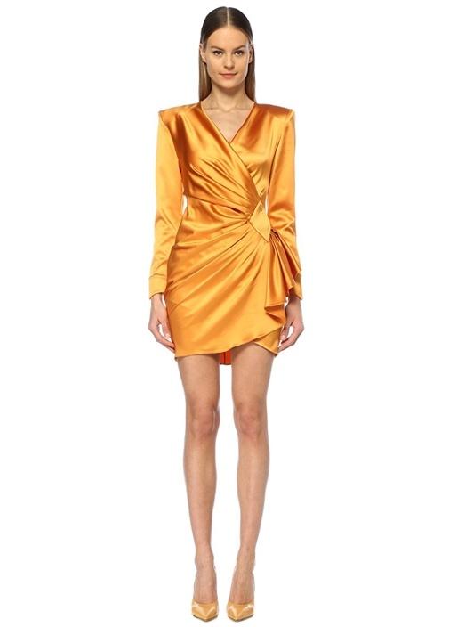 M.o.f.c Sarı Derin V Yaka Vatkalı Mini Abiye Elbise – 6250.0 TL