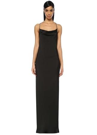 Museum of Fine Clothing Kadın Siyah Degaje Yaka Saten Maxi Abiye Elbise 36 EU