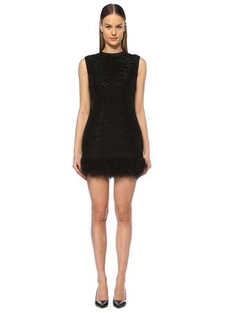 dd5228fe8ea76 36 female Siyah Museum of Fine Clothing Kadın Bisiklet Yaka Taşlı Tüylü  Mini Abiye Elbise EU