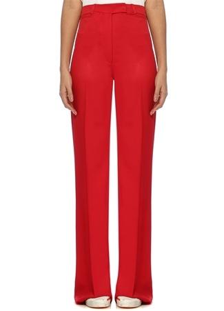 Carrie Kırmızı Yüksek Bel Bol Paça Pantolon