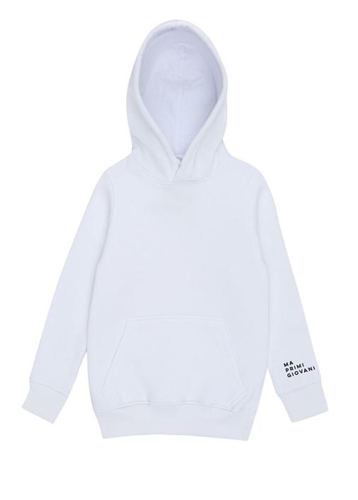 Cool Beyaz Kapüşonlu Baskılı Çocuk Sweatshirt