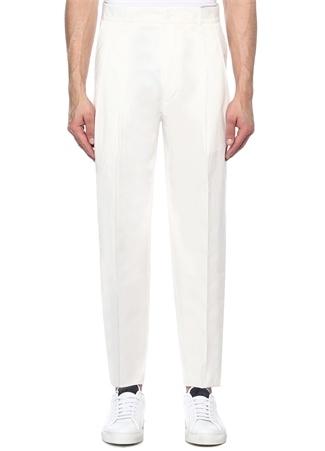 Beyaz Normal Bel Çift Pileli Pantolon