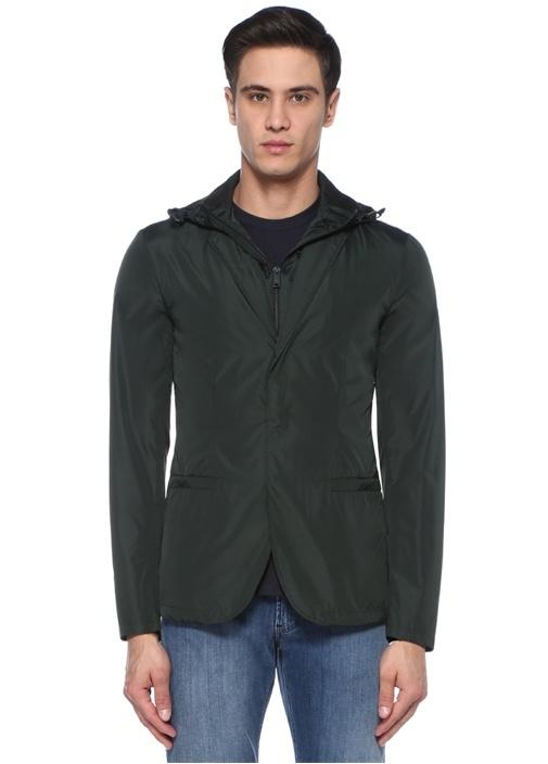 Haki Kapüşonlu İç Yelek Detaylı Ceket