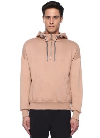 Somon Kapüşonlu Kordon Detaylı Baskılı Sweatshirt