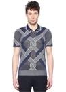 Lacivert Dokulu Polo Yaka Karışık Jakarlı T-shirt