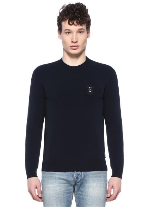 Lacivert Ayıcık Patchli Logolu Sweatshirt
