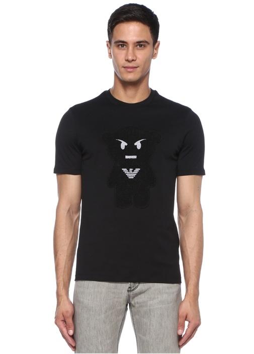 Siyah Bisiklet Yaka Ayıcık Patchli Logolu T-shirt