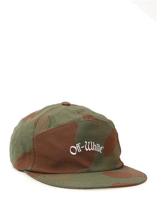 Kamuflaj Desenli Logo Nakışlı Erkek Şapka