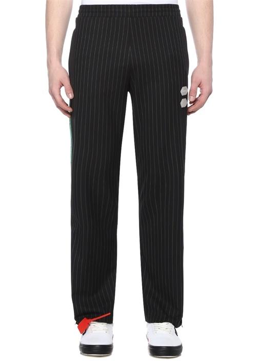 Off-whıte Siyah Yeşil Logo Şerit Detaylı Çizgili Pantolon – 4949.0 TL