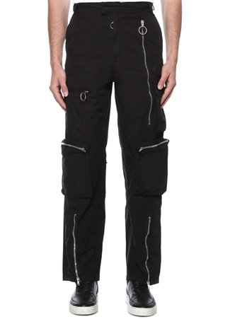 Siyah Yüksek Bel Logolu Kargo Pantolon