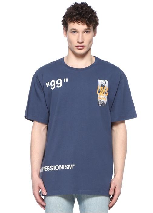 Off-whıte Mavi Bisiklet Yaka Logolu Arkası Baskılı T-shirt – 2349.0 TL