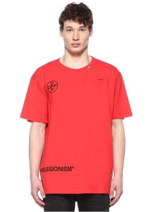 Off-whıte Kırmızı Bisiklet Yaka Logolu Basic T-shirt – 2249.0 TL