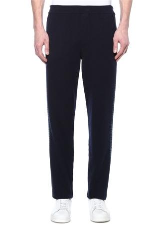 Lacivert Yanları Şeritli Yün Pantolon