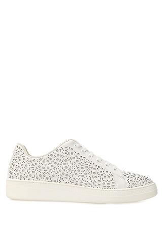 Alaia Kadın Beyaz Lazer Kesim Detaylı Deri Sneaker 36 EU