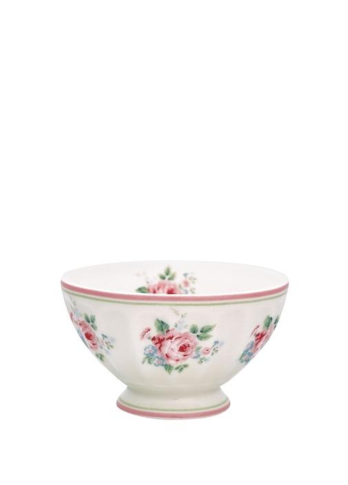 Marley Beyaz Çiçek Desenli Porselen Kase