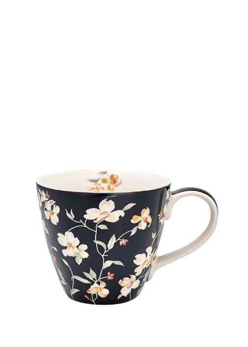 Jolie Siyah Çiçek Desenli Porselen Kupa