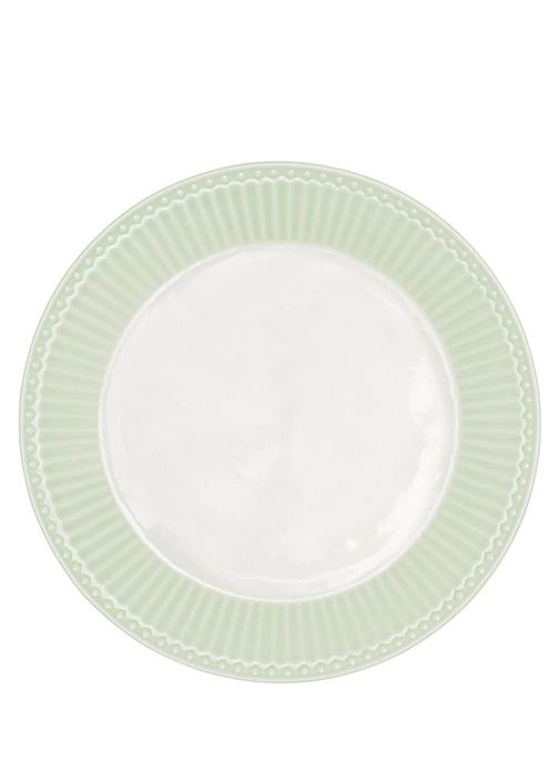 Alice Yeşil Çizgi Dokulu Porselen Tabak