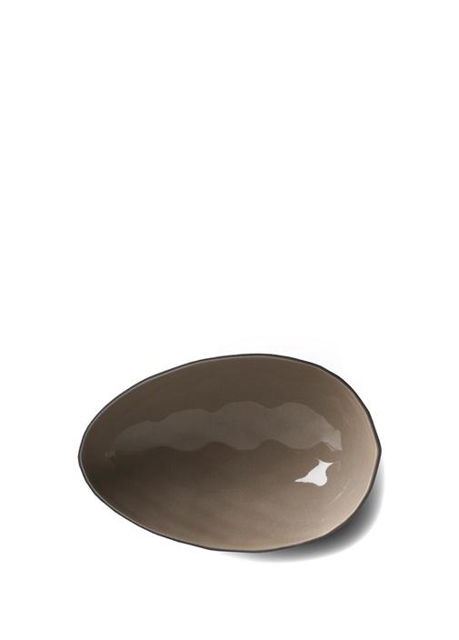 Siyah Gri Yumurta El Yapımı Büyük Porselen Kase