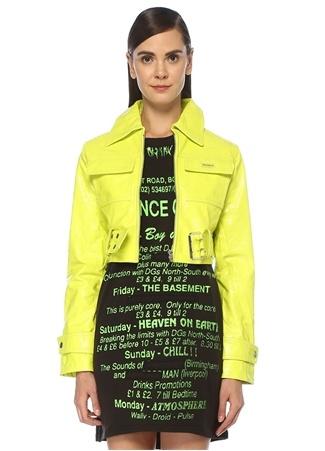 Misbhv Kadın Neon Sarı Kemerli Crop Deri Ceket S EU