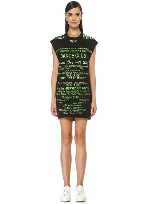 Siyah Yeşil Yazı Baskılı Kolsuz Mini Elbise