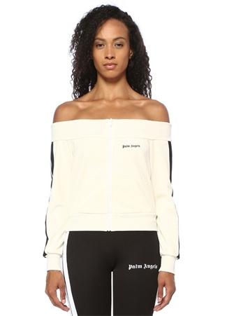 Palm Angels Kadın Ekru Siyah Şeritli Kayık Yaka Fermuarlı Sweatshirt M EU