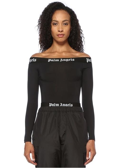 Siyah Kayık Yaka Logo Bantlı Uzun Kol Body