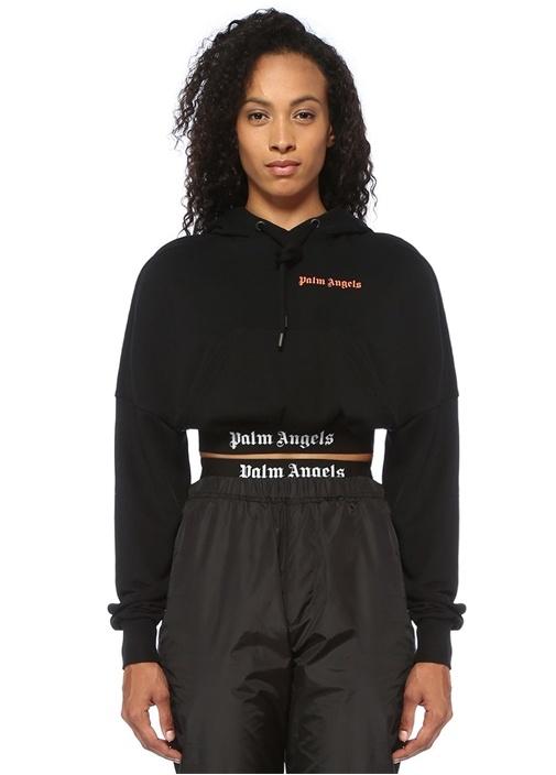 Siyah Kapüşonlu Logo Baskılı Crop Sweatshirt