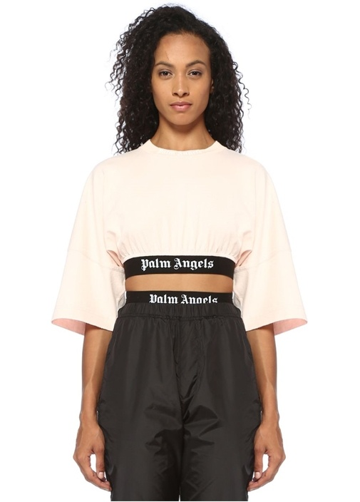 Pembe Logo Baskılı Bant Detaylı Crop T-shirt