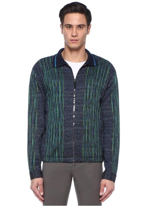Lacivert Yeşil İngiliz Yaka Jakarlı Ceket
