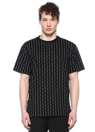 Siyah Bisiklet Yaka Şerit Logolu Basic T-shirt