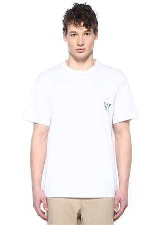 Beyaz Bisiklet Yaka Metalik Logolu T-shirt