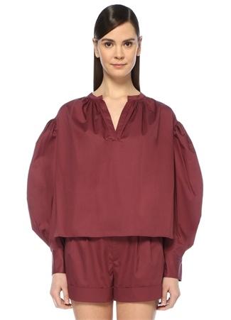 Kadın Olto Bordo V Yaka Balon Kol Poplin Gömlek 36 FR