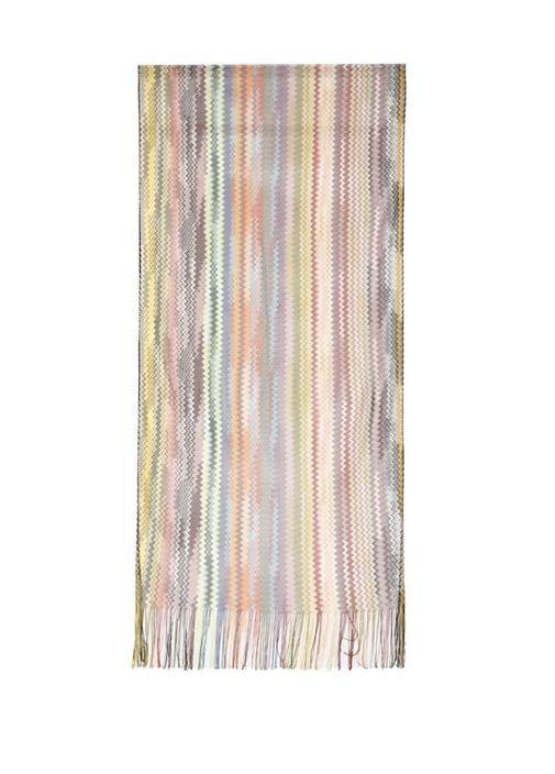Colorblocked Zikzak Desenli Kadın Şal