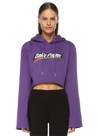 Kadın Fello Mor Kapüşonlu Geniş Kol Crop Sweatshirt S EU