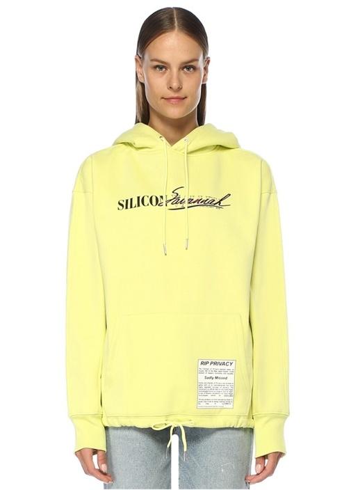 Fadraw Sarı Kapüşonlu Ucu Büzgülü Sweatshirt