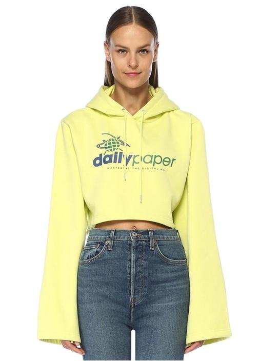 Fello Sarı Kapüşonlu Geniş Kol Crop Sweatshirt