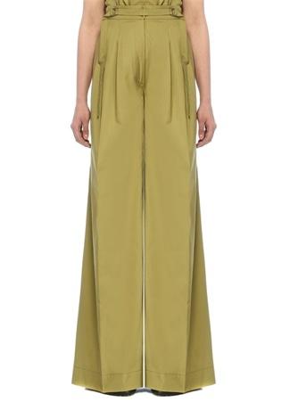Alberta Ferretti Kadın Yeşil Yüksek Bel Pileli Bol Paça Pantolon Haki 42 IT