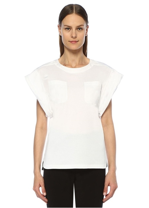 Beyaz Cep Detaylı Geniş Kol Jarse T-shirt
