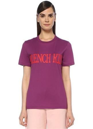 French Kiss Mor Baskılı T-shirt