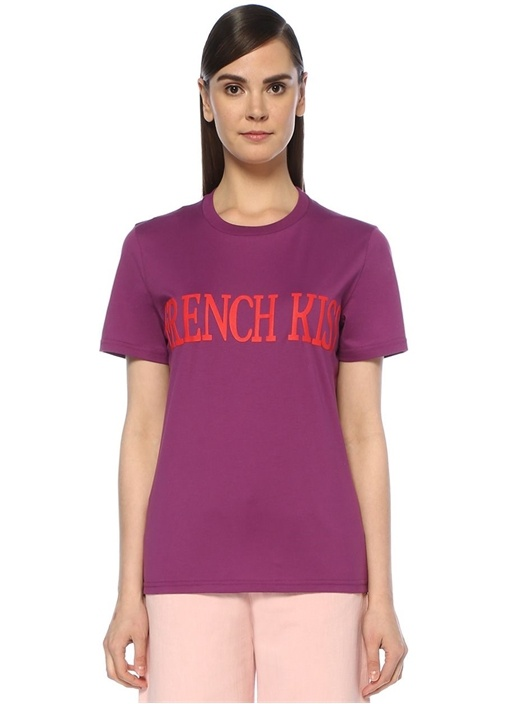 French Kiss Mor Baskılı T-shirt