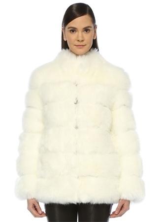 Ducie Kadın Beyaz Dik Yaka Peluş Mont XS EU