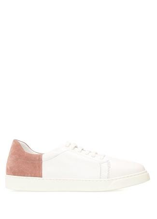 Kadın Beyaz Altın Rengi Deri Sneaker 36 EU