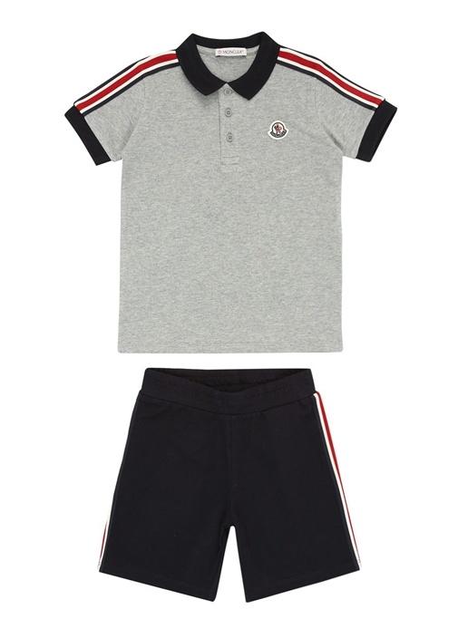 Siyah Gri Polo Yaka Erkek Çocuk Pantolon Seti