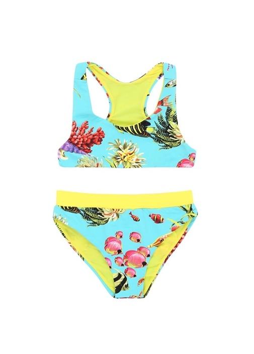 Mavi Sarı Deniz Altı Baskılı Kız Çocuk Bikini