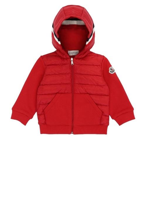 Kırmızı Kapüşonlu Garnili Erkek Bebek Sweatshirt