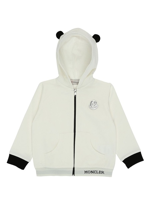 Beyaz Kapüşonlu Logo Patchli Çocuk Sweatshirt