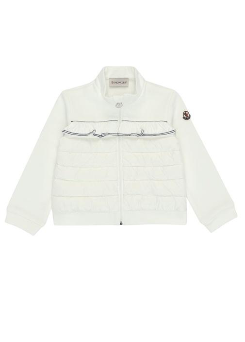 Beyaz Fırfırlı Garnili Kız Çocuk Sweatshirt