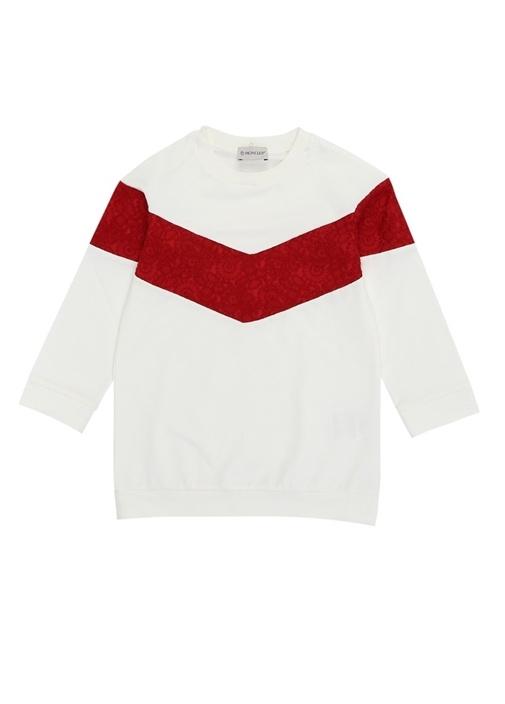 Kırmızı Beyaz Kapüşonlu Kız Çocuk Sweatshirt