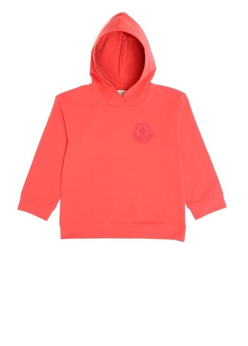 Kırmızı Kapüşonlu Logolu Kız Çocuk Sweatshirt