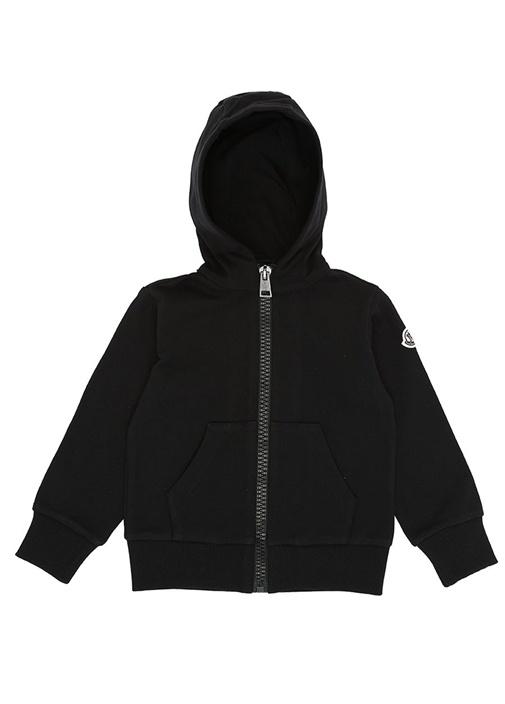 Siyah Logolu Kapüşonlu Erkek Çocuk Sweatshirt